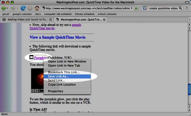 download sample quicktime video